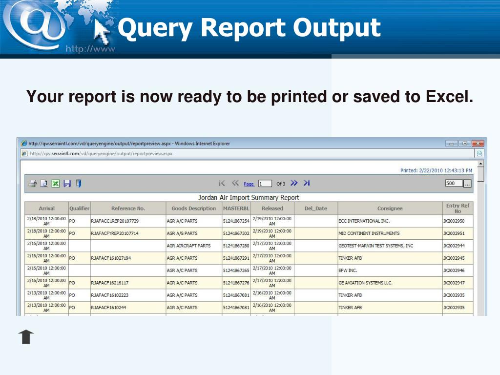 Query Report Output