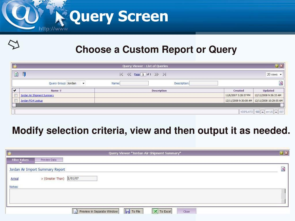 Query Screen
