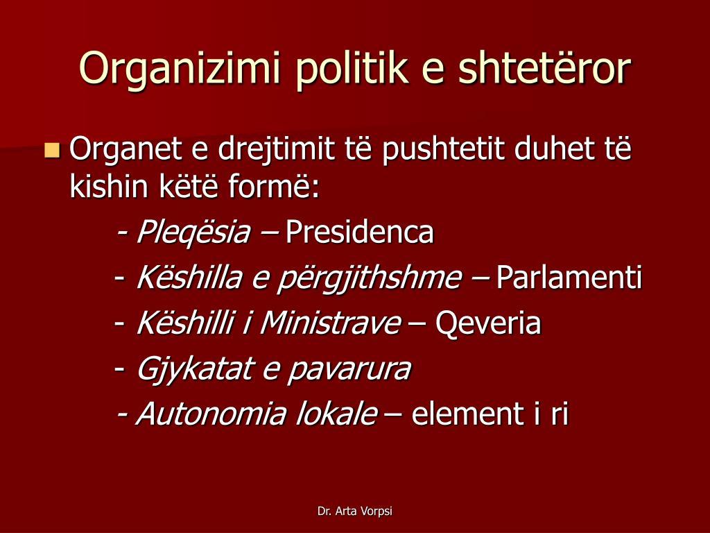 Organizimi politik e shtetëror