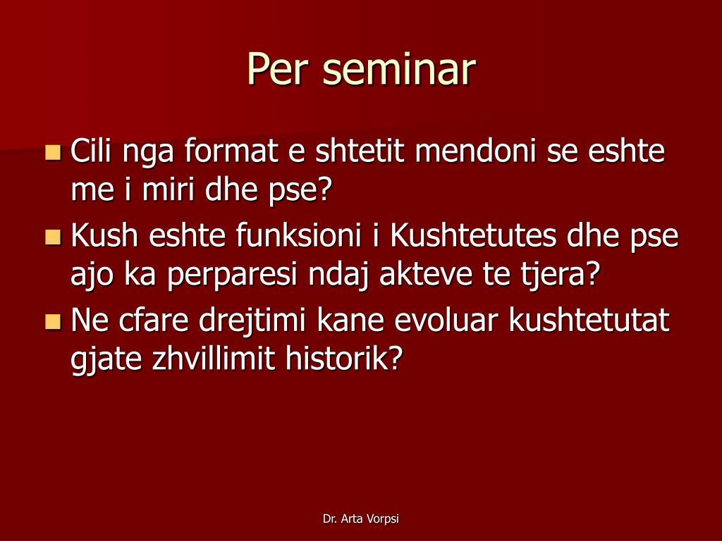 Per seminar