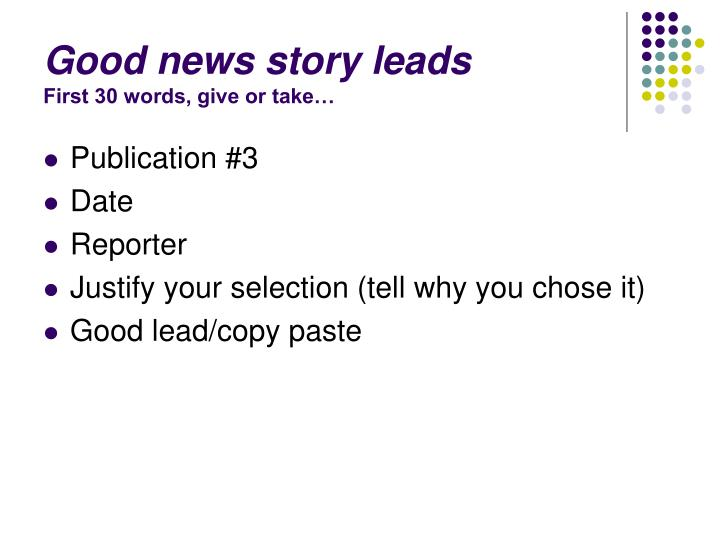 Good news story leads