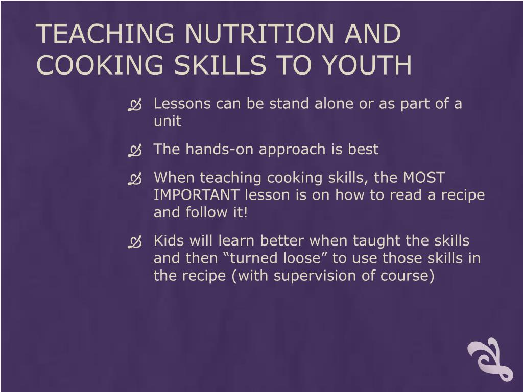 Teaching Nutrition and Cooking Skills to youth