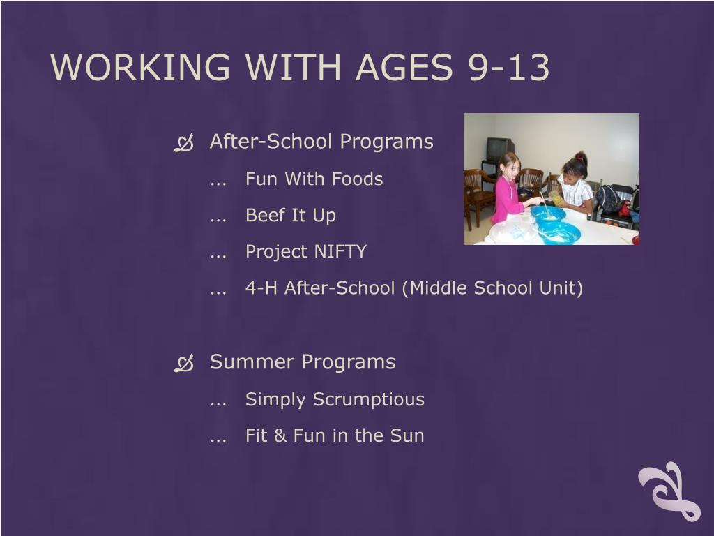 Working with ages 9-13