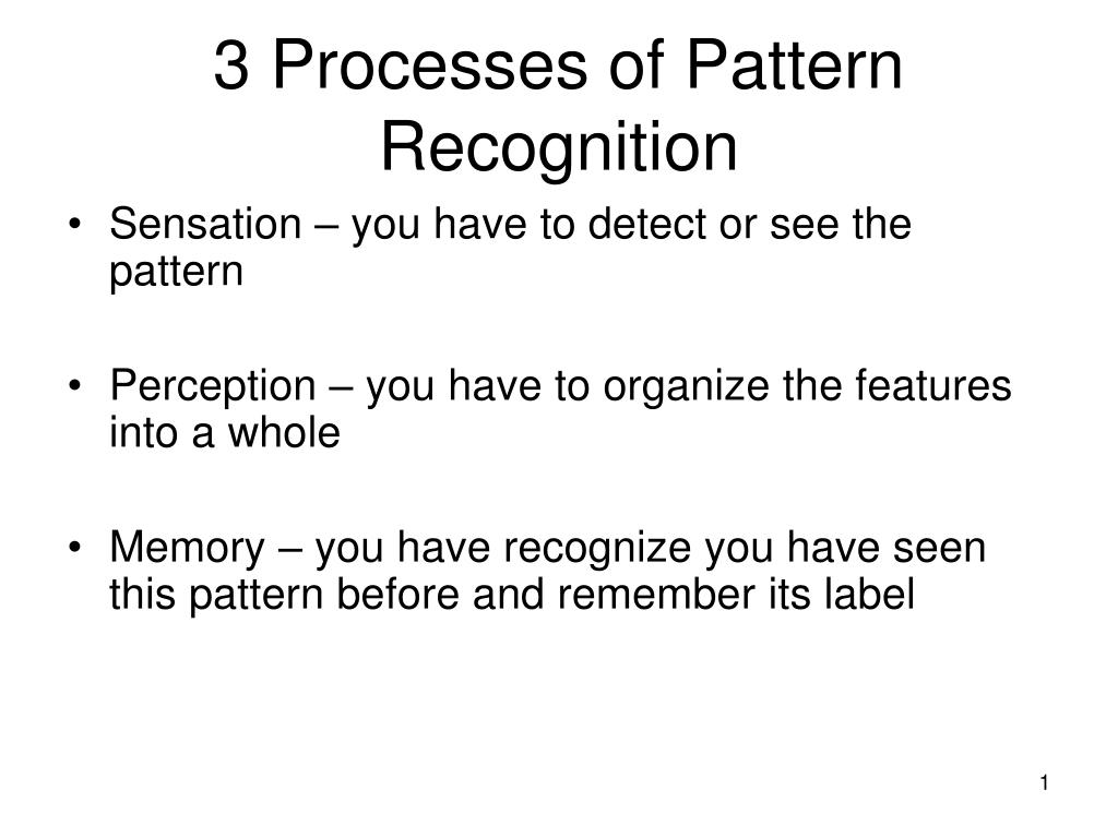 3 Processes of Pattern Recognition