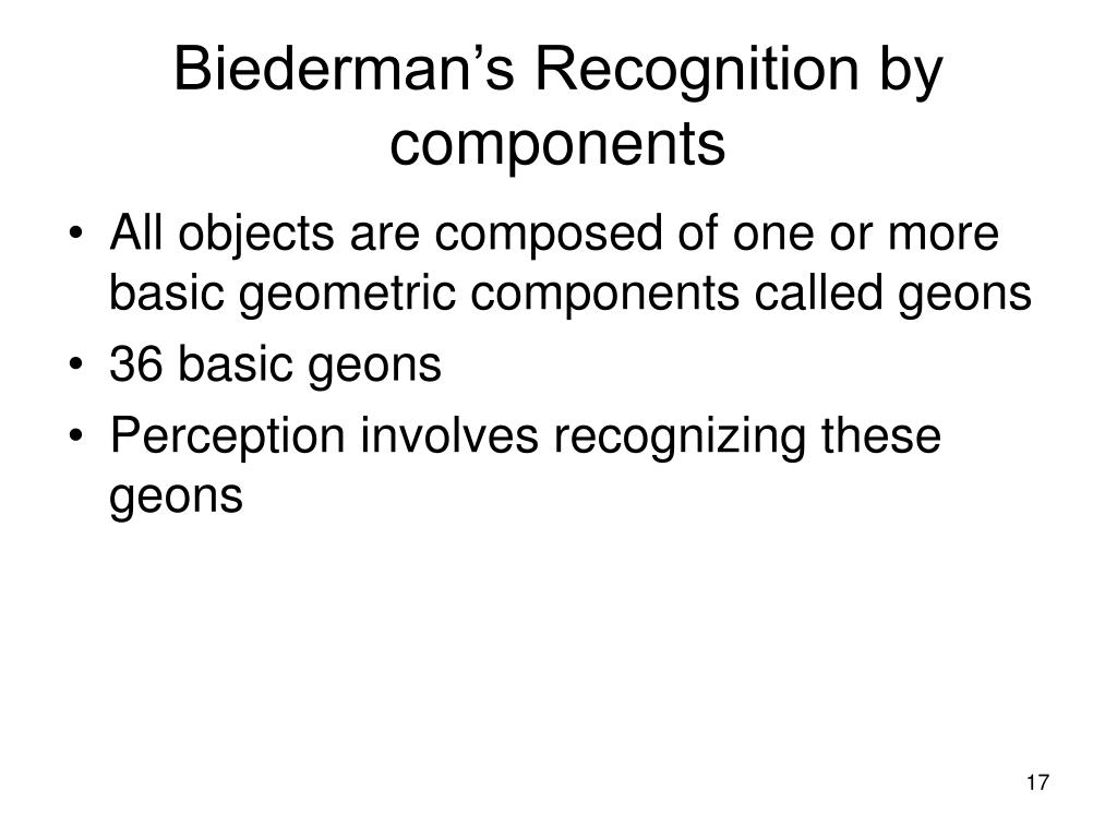Biederman's Recognition by components