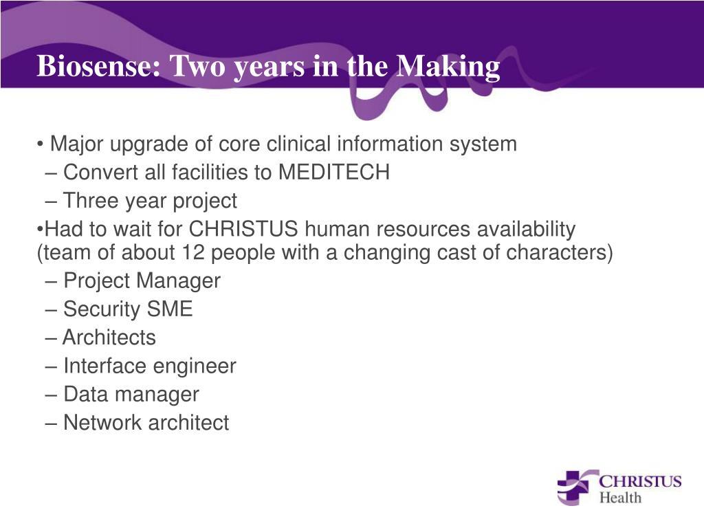 Biosense: Two years in the Making