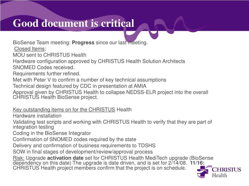 Good document is critical