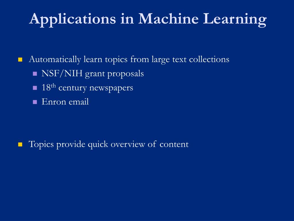 Applications in Machine Learning