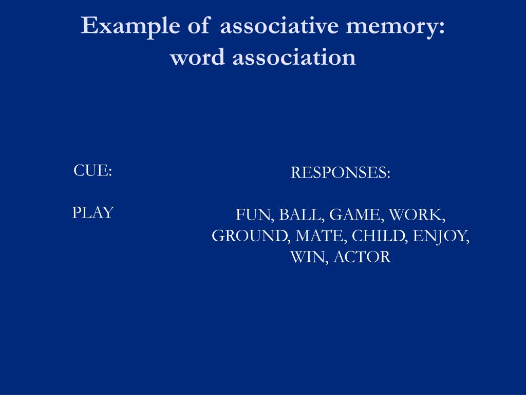 Example of associative memory: