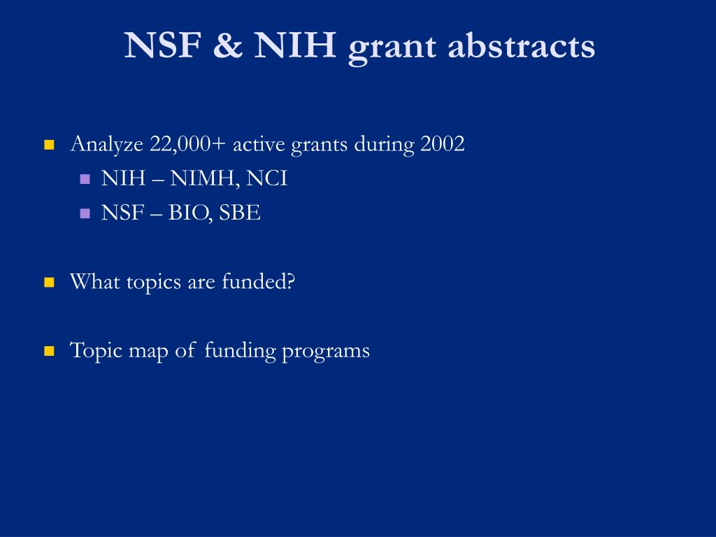 NSF & NIH grant abstracts