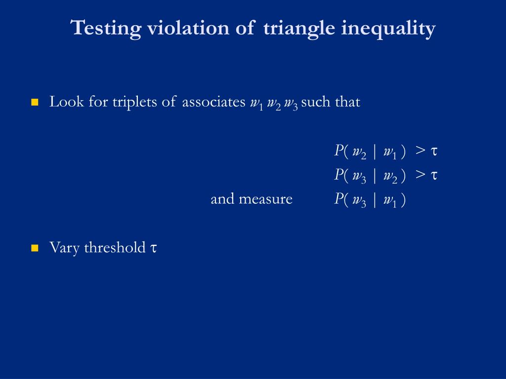 Testing violation of triangle inequality