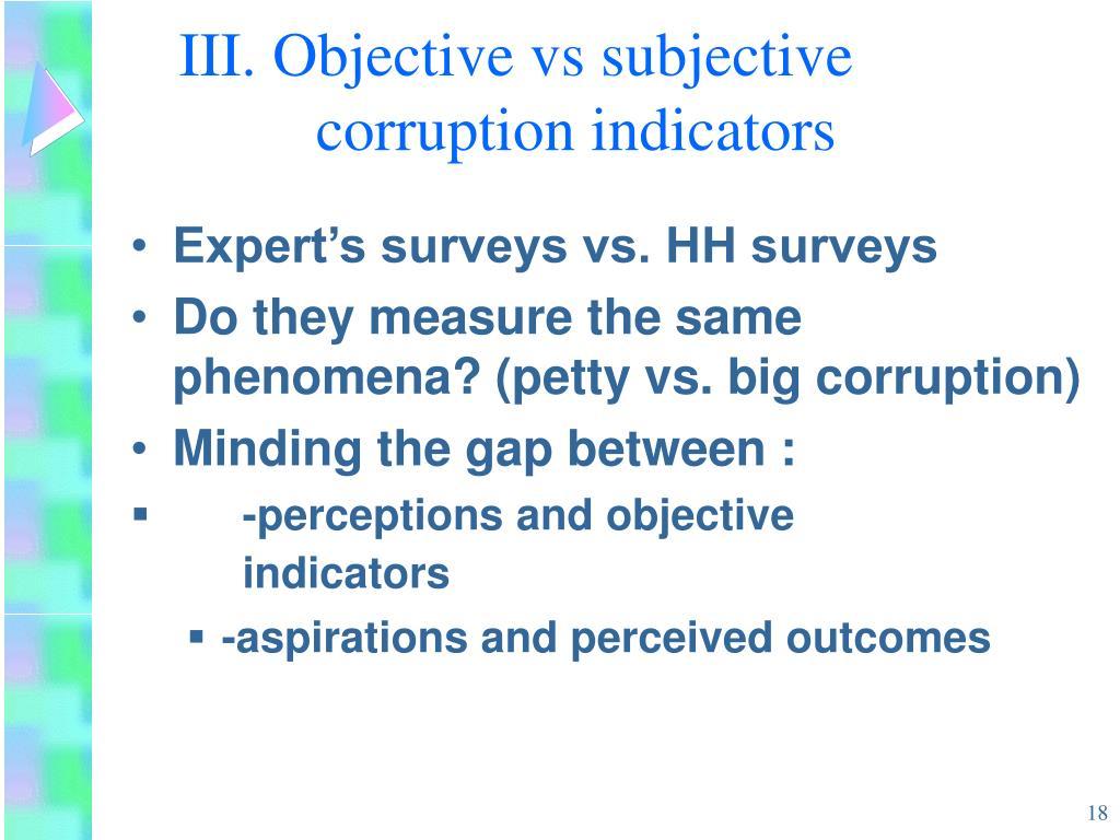 III. Objective vs subjective corruption indicators