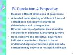 iv conclusions perspectives