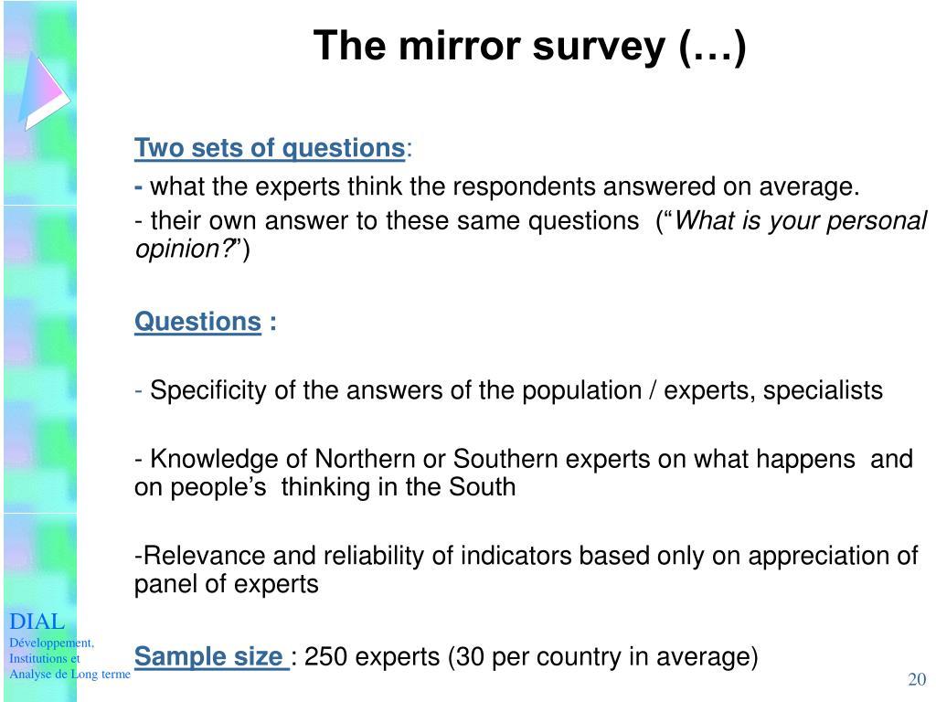 The mirror survey (…)