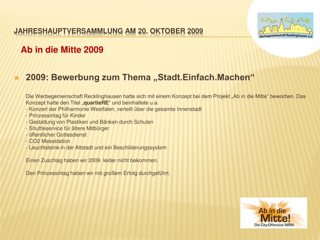 """2009: Bewerbung zum Thema """"Stadt.Einfach.Machen"""""""
