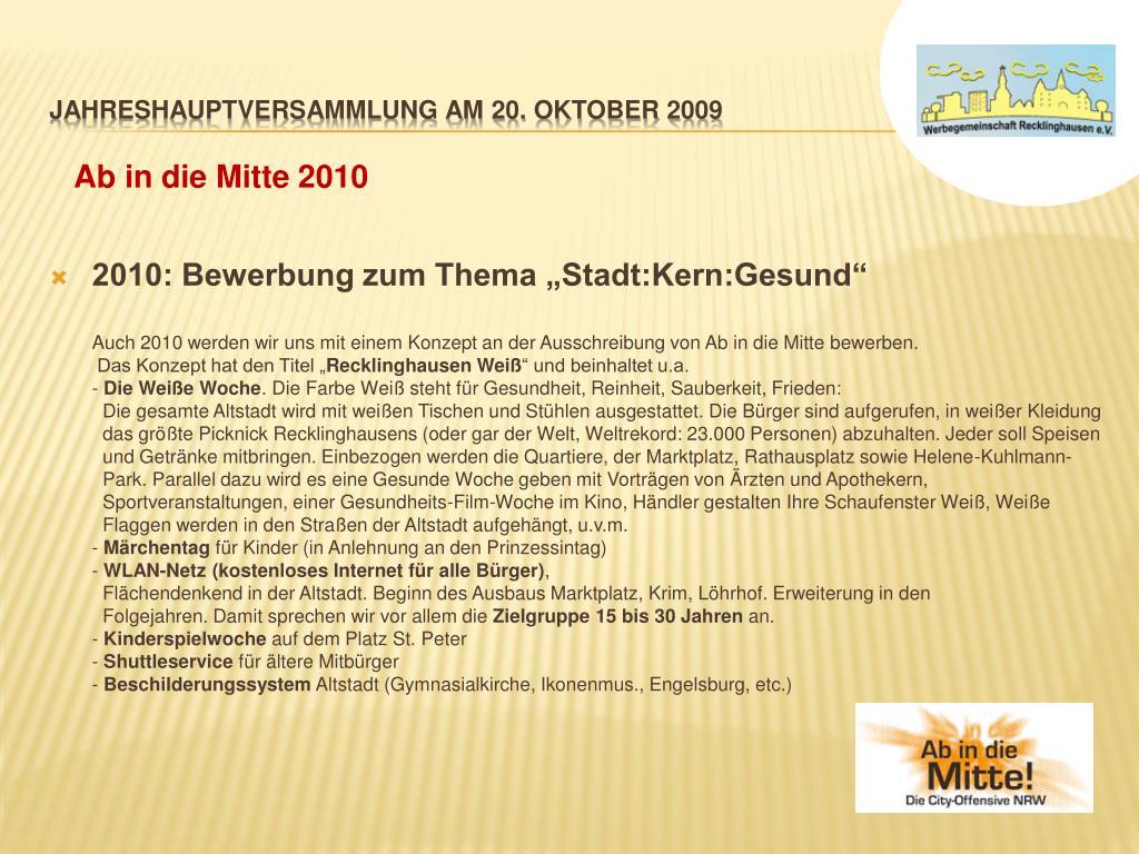 """2010: Bewerbung zum Thema """"Stadt:Kern:Gesund"""""""