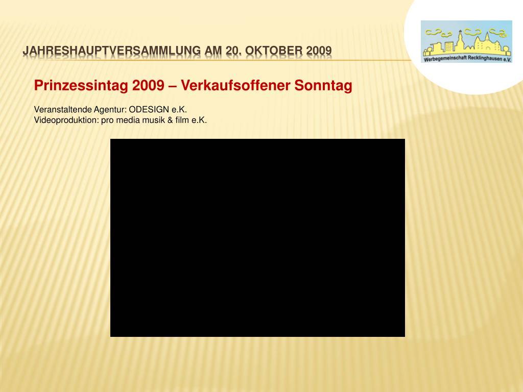 Jahreshauptversammlung am 20. OKTOBER 2009