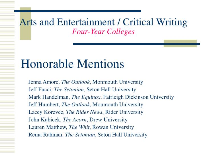 Arts and Entertainment / Critical Writing