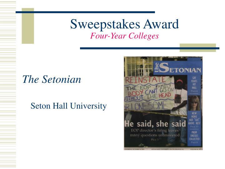 Sweepstakes Award