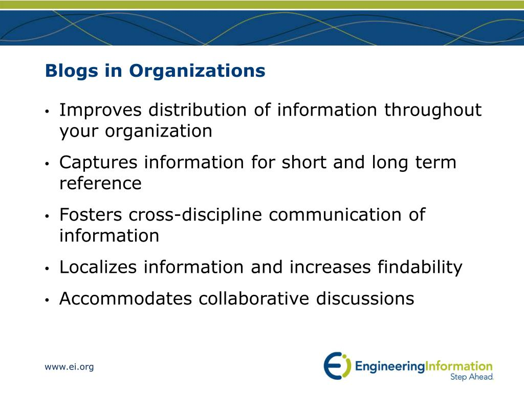 Blogs in Organizations