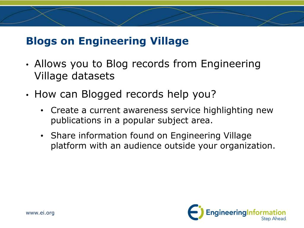 Blogs on Engineering Village