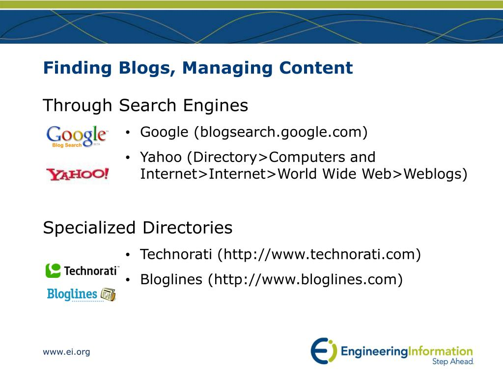 Finding Blogs, Managing Content