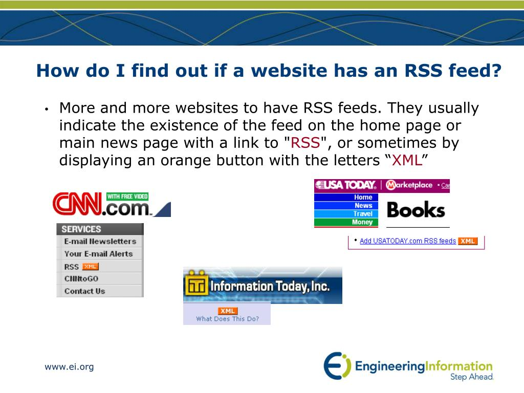 How do I find out if a website has an RSS feed?