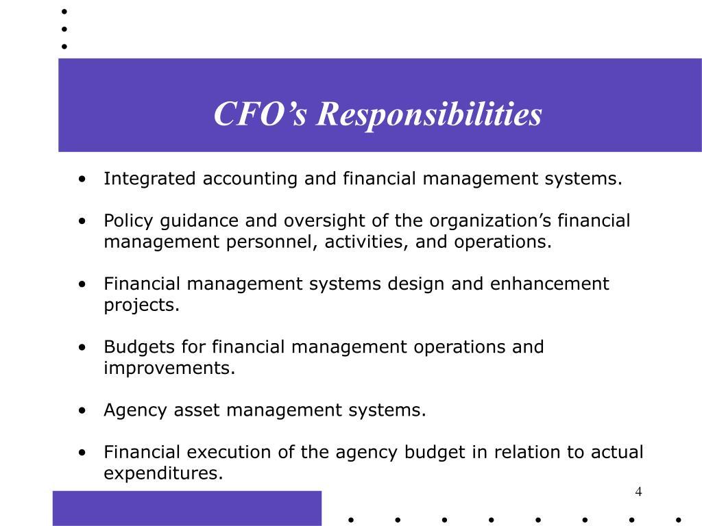 CFO's Responsibilities
