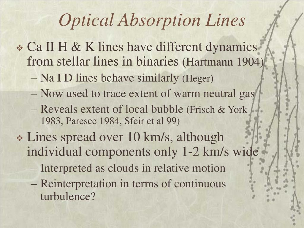 Optical Absorption Lines