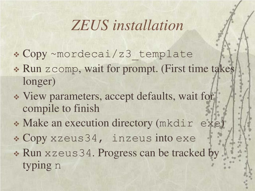 ZEUS installation