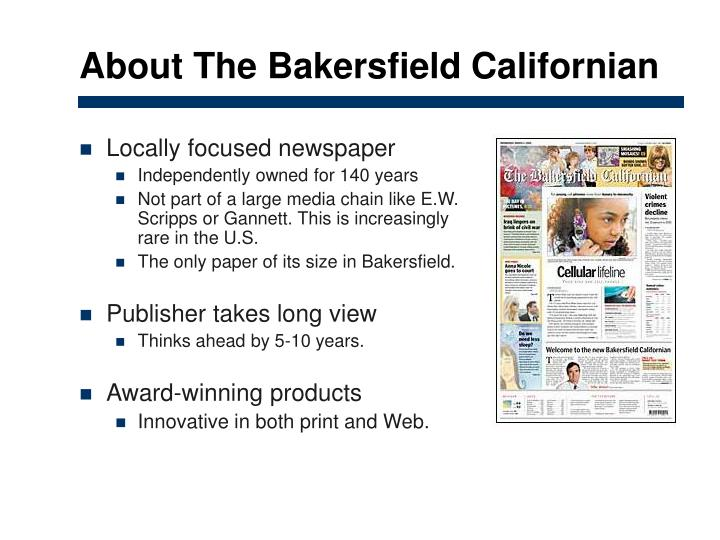About The Bakersfield Californian