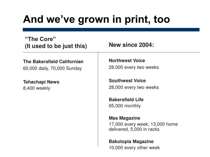And we've grown in print, too