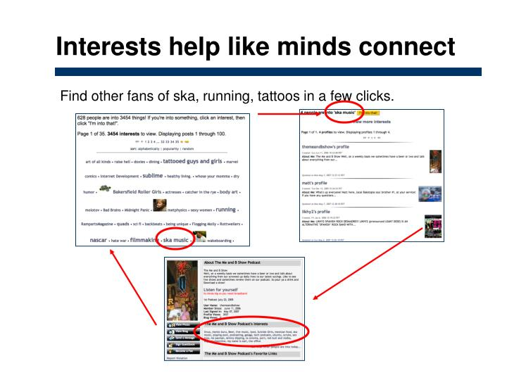 Interests help like minds connect