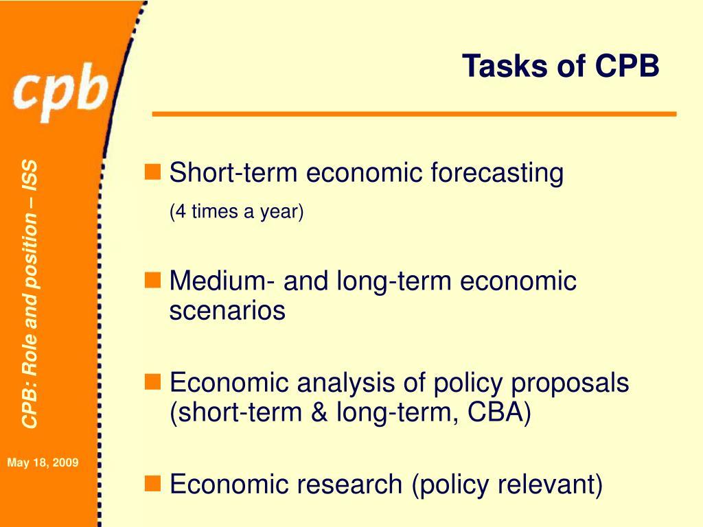 Tasks of CPB