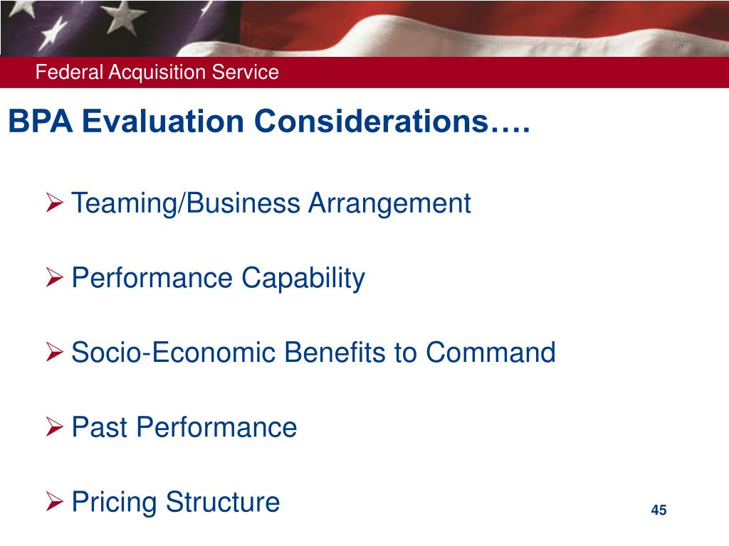 BPA Evaluation Considerations….