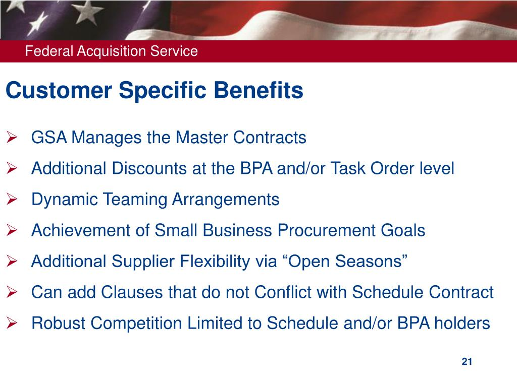 Customer Specific Benefits