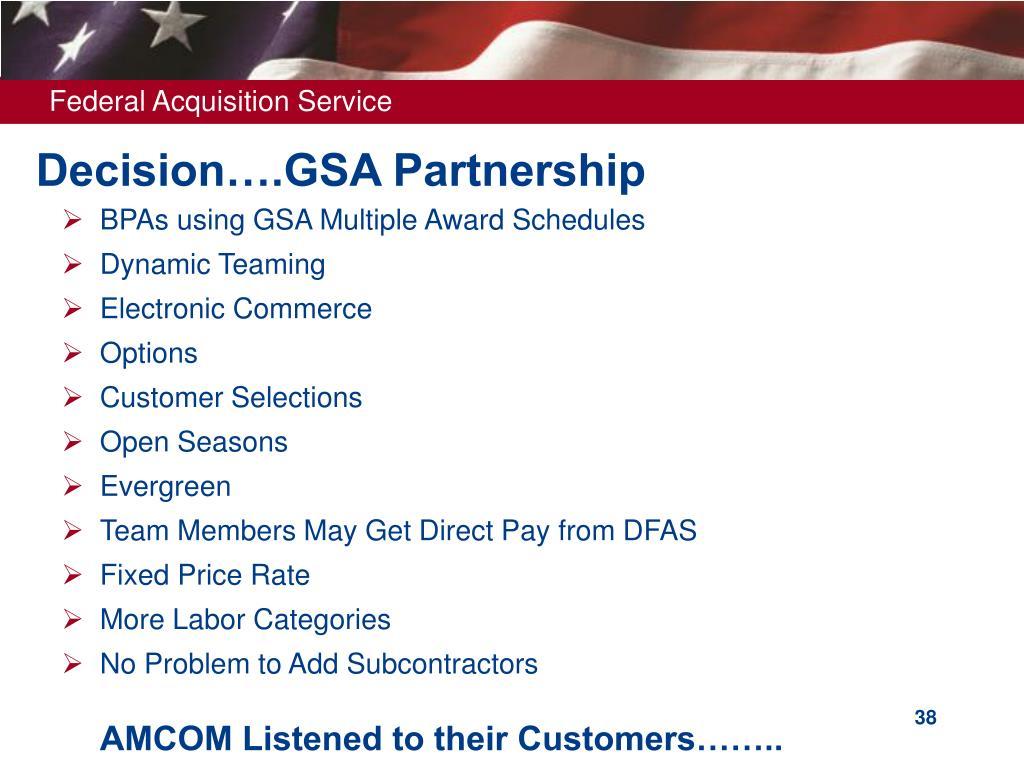 Decision….GSA Partnership