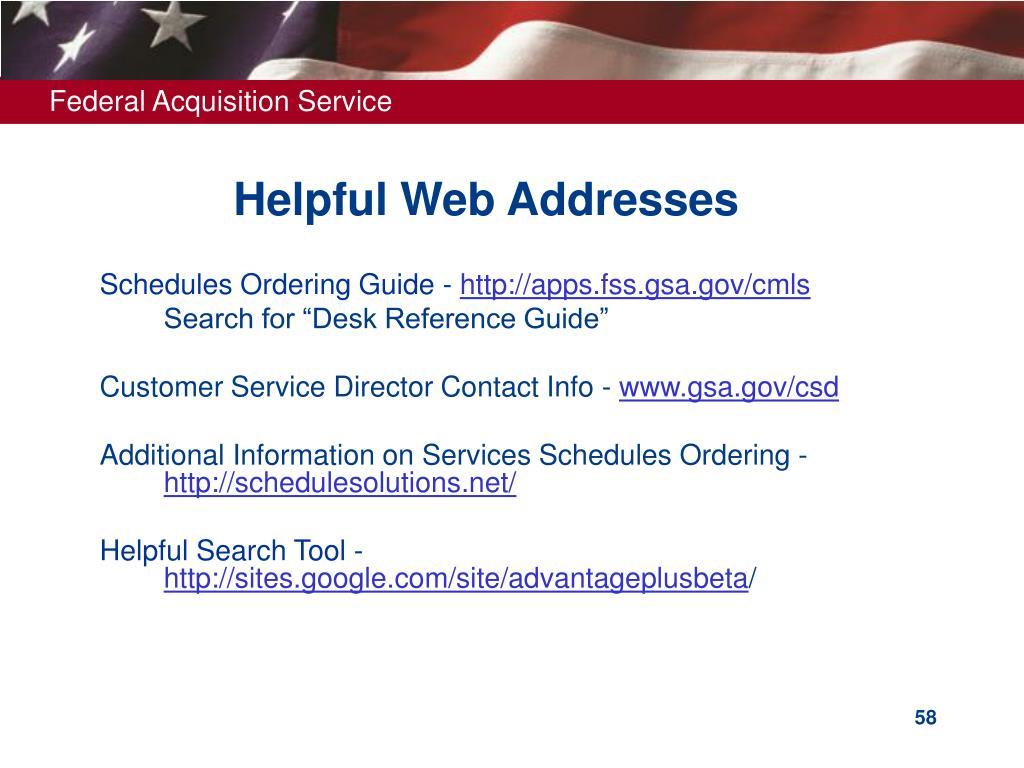 Helpful Web Addresses