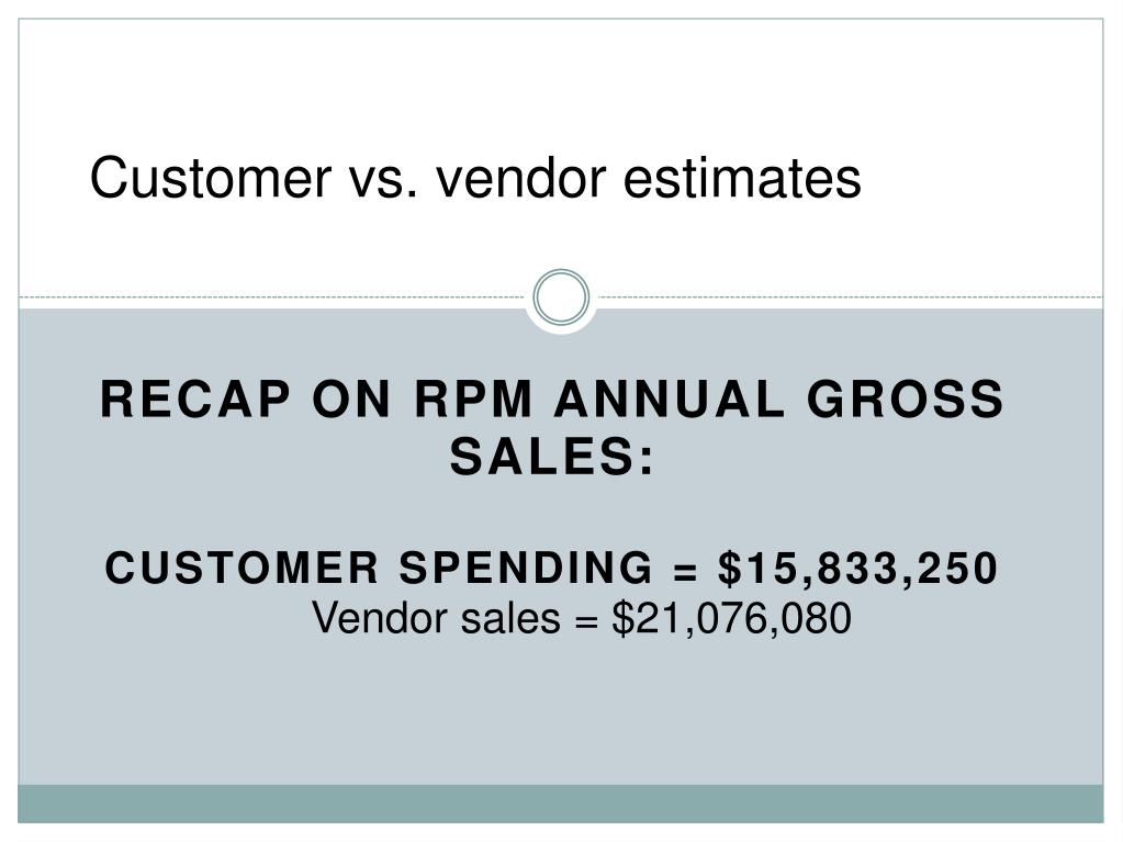 Customer vs. vendor estimates