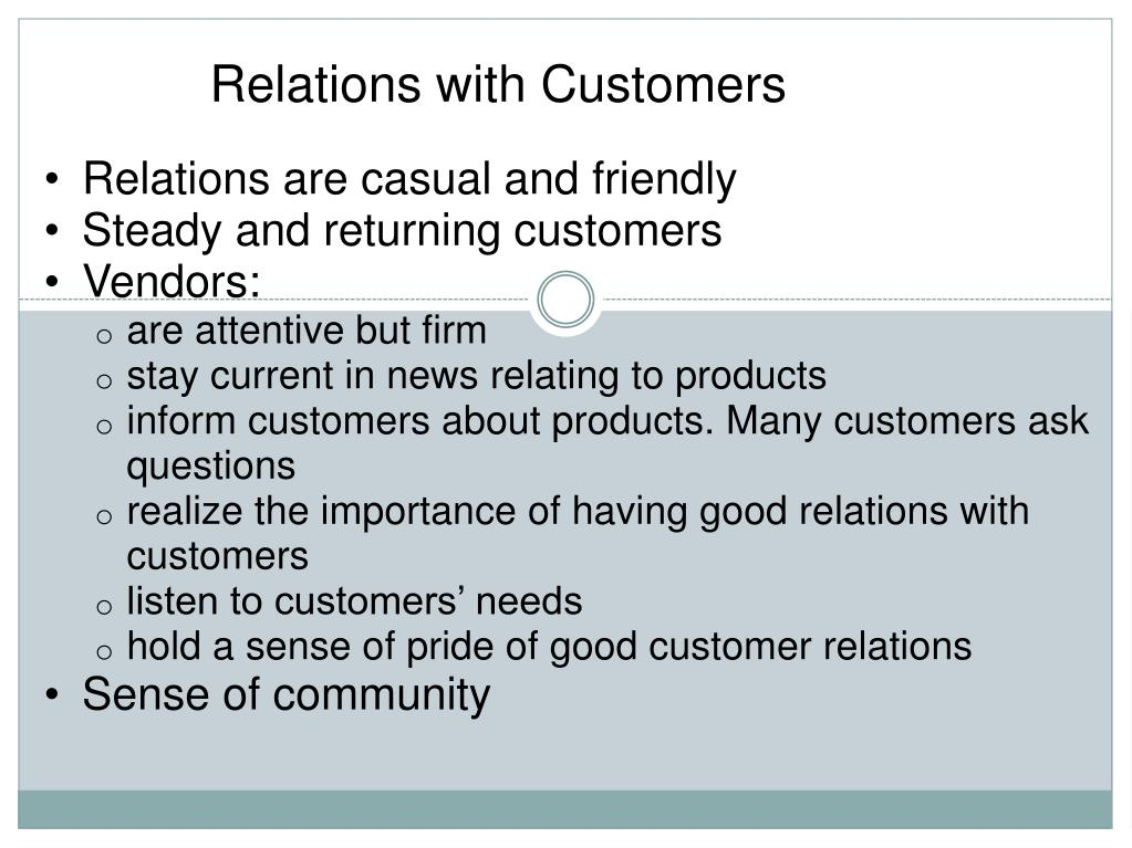 Relations with Customers