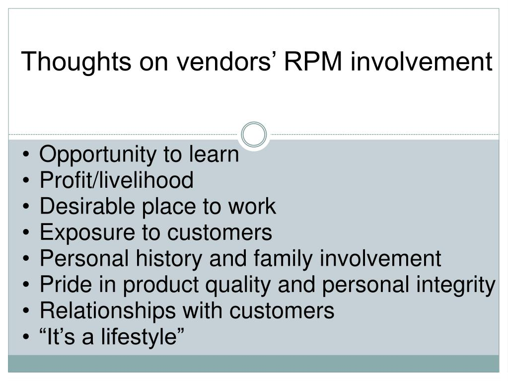 Thoughts on vendors' RPM involvement