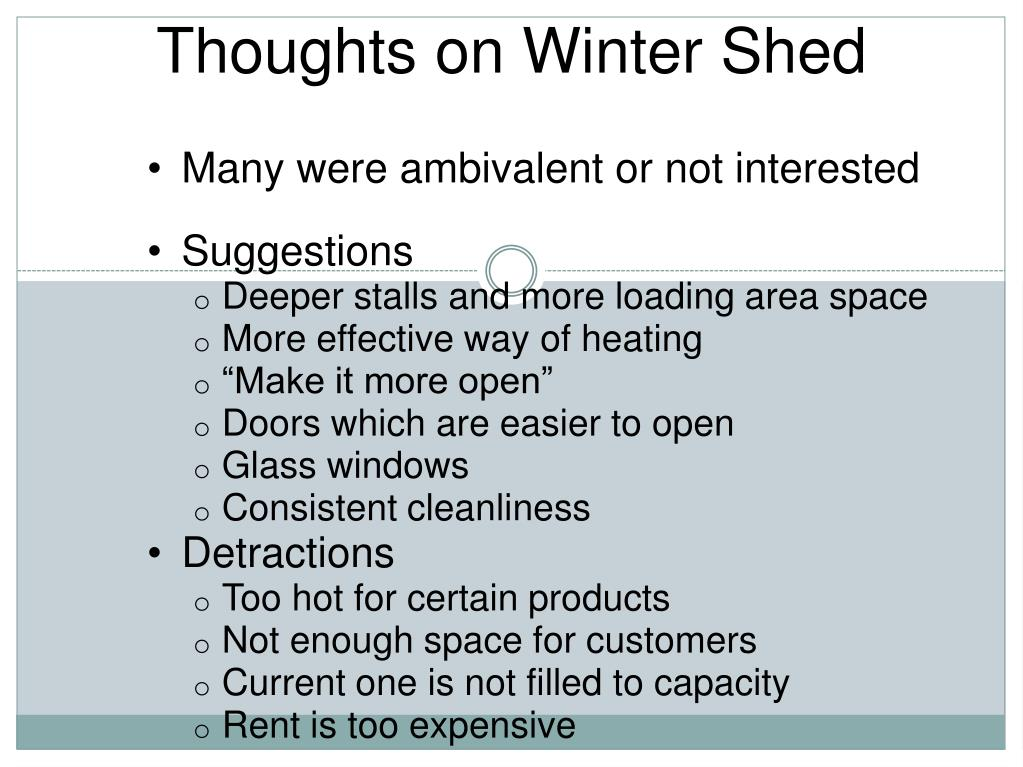Thoughts on Winter Shed