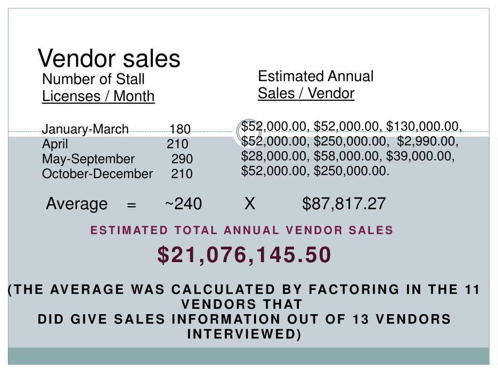 Vendor sales