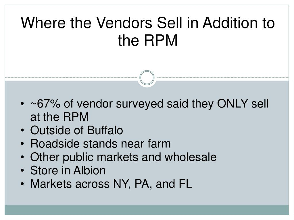 Where the Vendors Sell in Addition to the RPM