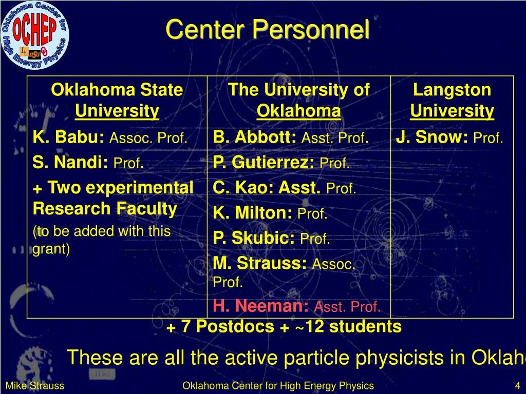 Center Personnel