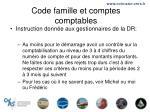 code famille et comptes comptables20