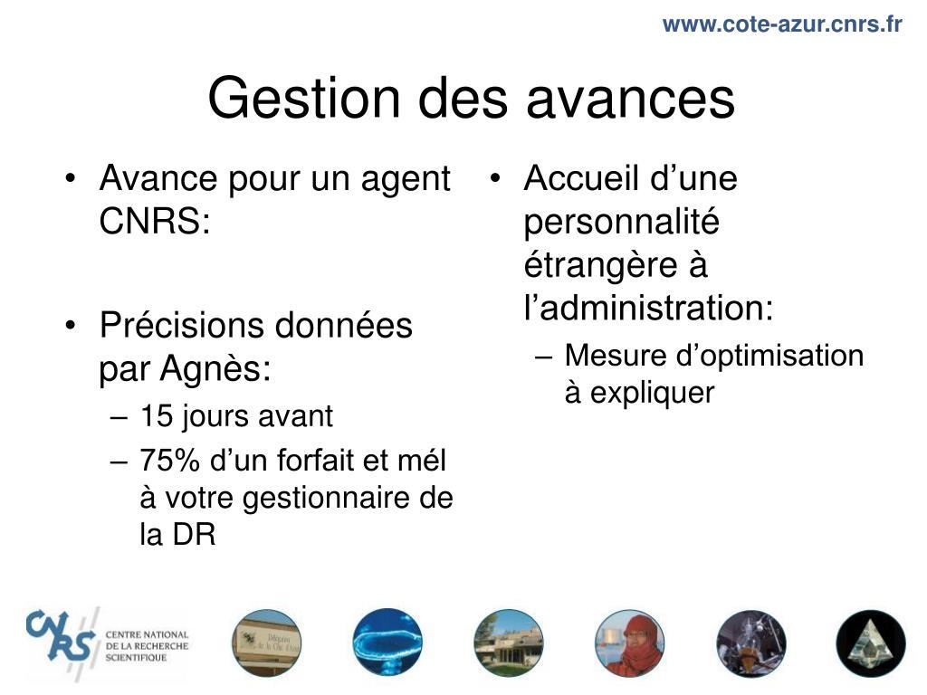 Avance pour un agent CNRS:
