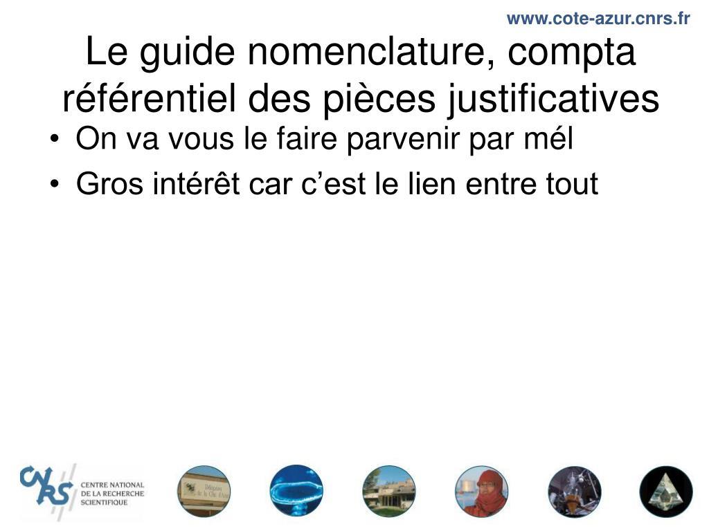 Le guide nomenclature, compta référentiel des pièces justificatives