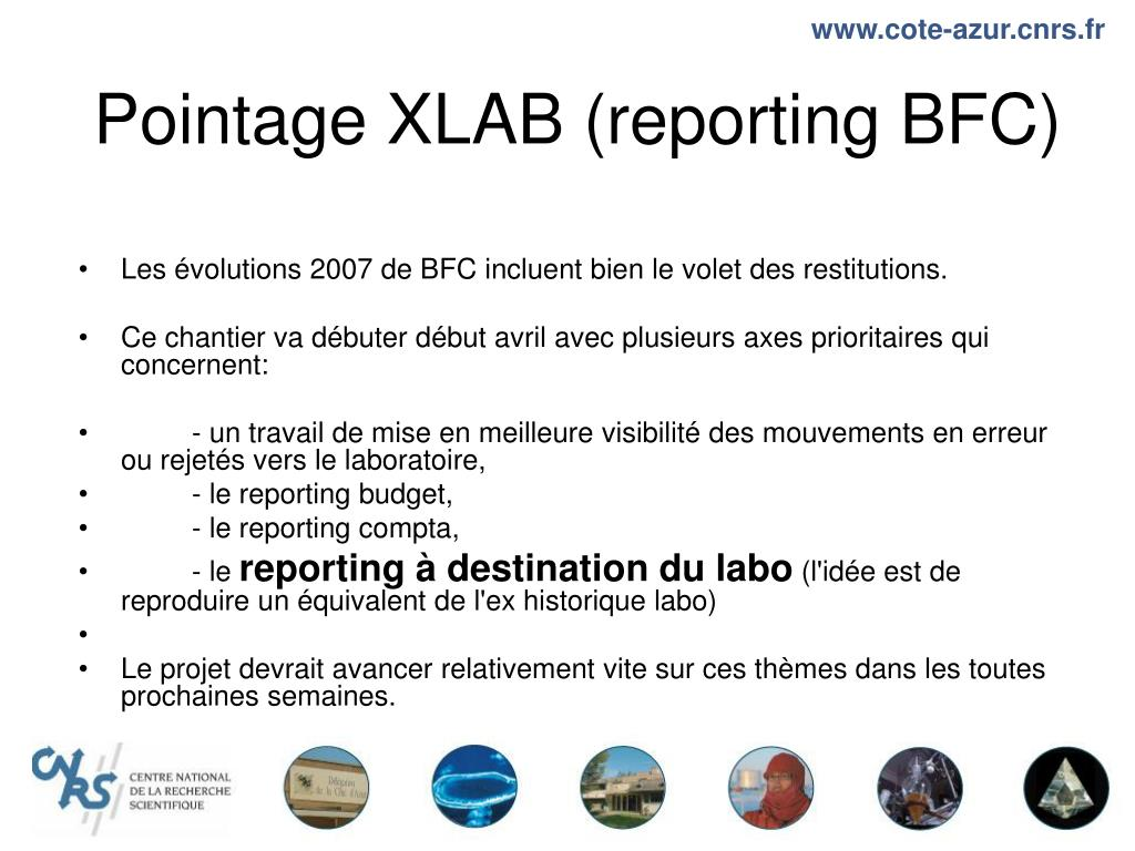 Pointage XLAB (reporting BFC)