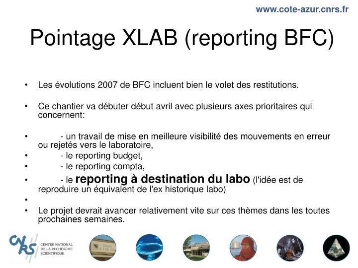 Pointage xlab reporting bfc